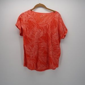 Joe Fresh V-Neck Leaf Print Short Sleeve Top Sz M